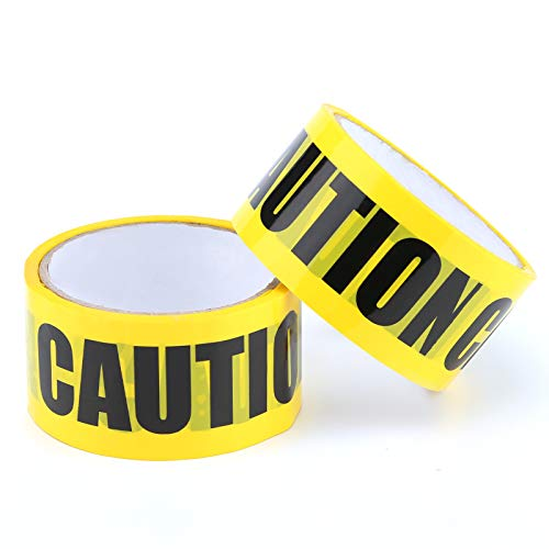 TOYMIS 2 Rolls Caution Tapes, Yellow Black Barricade Tape Adhesive Safety Tape Warning Barrier Tape for Quarantine Danger Construction Crime Scene Christmas Halloween Party Decoration(2 inch/82 Feet)