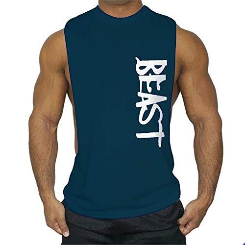 FENGCHENG Herren No Pain No Gain Weste für Herren Ärmelloses Männer Tank Top T-Shirt Bodybuilding Sport Fitness Weste (Dunkelblaues Tier,M)