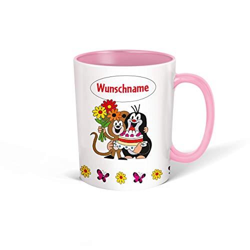 Trötsch Tasse Der kleine Maulwurf mit Wunschname personalisierbar, Namenstasse, Teetasse, Kaffeebecher, Geschenkidee zum Geburtstag, Kindertag oder Schulanfang für jung und alt … (Rosa Torte)