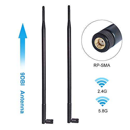 9dBi 2.4GHz 5.8GHz Dual Band WiFi Antenna 2-Pack