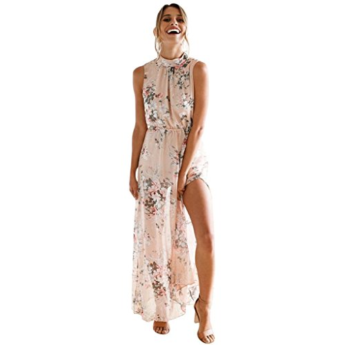 Kleid Damen Kolylong® Frauen Elegant Blumenmuster Ärmelloses Kleid Lang Vintage Rückenfreies Boho Kleid Festlich Chiffon Kleid Maxikleid Split Strandkleid Partykleid Abendkleid (XL, Rosa)