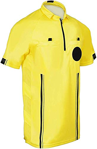 Soccer Referee 9 Piece Short Sleeve Package Referee Jersey Black Shorts Socks Patch Whistle Lanyard Referee Wallet Cards Flag Set (Yellow, Adult Medium)