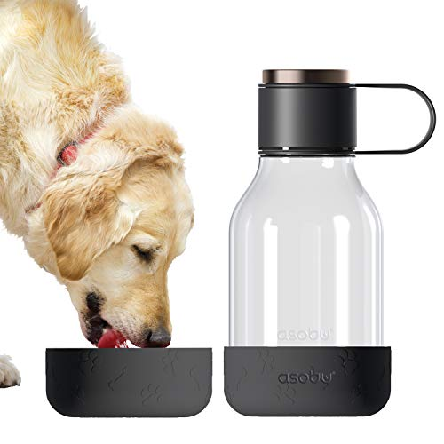 Asobu Tritan Water Bottle with Dog Bowl Attached 50 Ounces (Black)