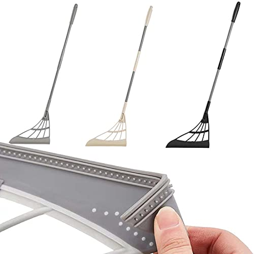 Chagoo Hogar multifunción escoba mágica toallita exprimible trapeador de silicona, para lavar pisos, herramientas de limpieza, fregadora de ventanas, fácil de limpiar (Gray)