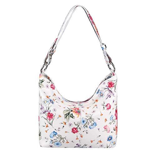 OBC Made in Italy Damen Echt Leder Tasche Shopper Hobo-Bags Blumen Schultertasche Umhängetasche Handtasche Henkeltasche Ledertasche Damentasche (Weiß-Blumen)