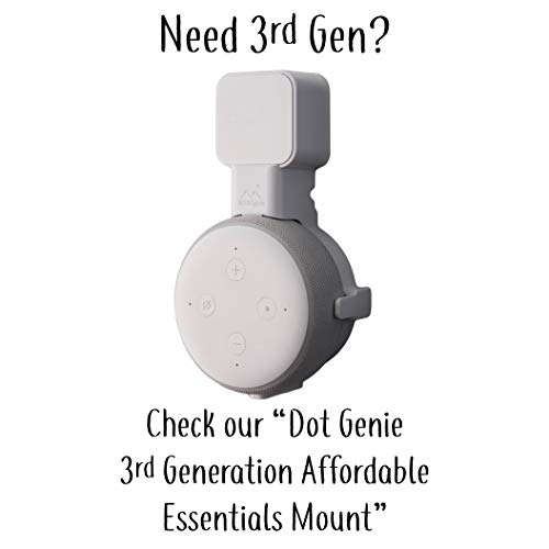 Dot Genie Deluxe Mount for Amazon Echo Dot 2nd Generation Alexa: The Simplest and Cleanest High-End Outlet Wall Mount Hanger Stand for Kitchen and Bathroom Speakers (Black)