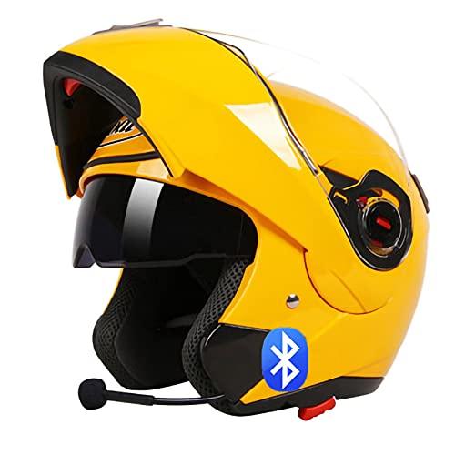 Casco de Moto Modular Bluetooth Integrado con un Micrófono Incorporado Anti Niebla Visera doble ECE Homologado Casco de Moto con Auricular Bluetooth Integrado Yellow,XXL=60~61cm