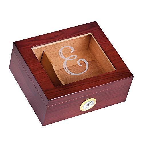 Personalized Glass Top Cigar Humidor Box - Monogrammed Cigar Humidor - Humidor - Holds 25-50 Cigars - Cedar Divider - Initial E