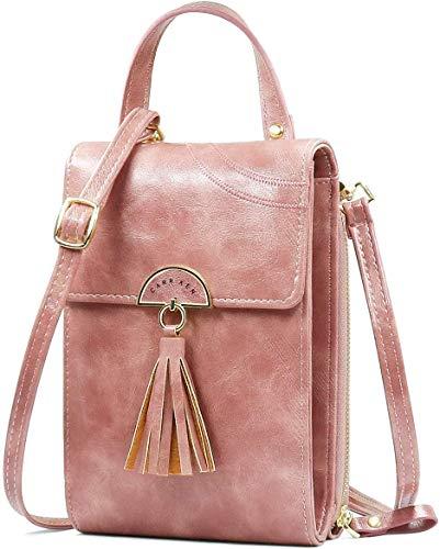 NoChoX Handtasche Damen Umhängetasche Handytasche Zum Umhängen Geldbörse Portemonnaie mit Vielen Fächern Kartenfach - Verstellbare Schultergurte (Rosa)