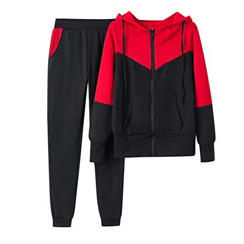 Sllowwa Damen Jogginganzug Trainingsanzug Sportanzug Einfarbig Kapuzenpullover und Hose Trainingsanzug Sportanzug(rot,XL)