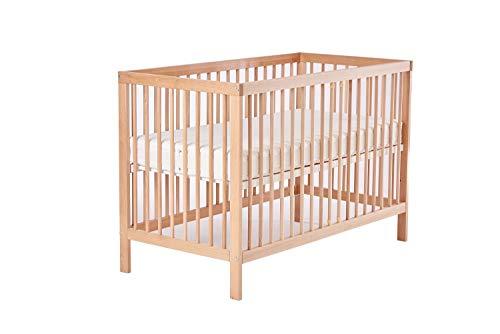 Mitwachsendes Babybett 60x120 cm Toni aus hochwertiger Buche, mit Schlupfsprossen ohne Matratze ohne Schublade in Natur