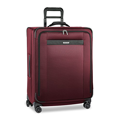 Briggs & Riley Transcend-Softside Expandable Medium Checked Spinner Luggage, Merlot, 26-Inch