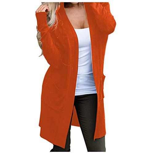 LILICAT Damen Lange Jacken Herbst Einfarbig Cardigan Mantel Classics Sweatjacke Langarm Kapuzenjacke Leicht Coat Strickjacke Freizeit Elegant Winterjacke Outwear Outdoorjacke