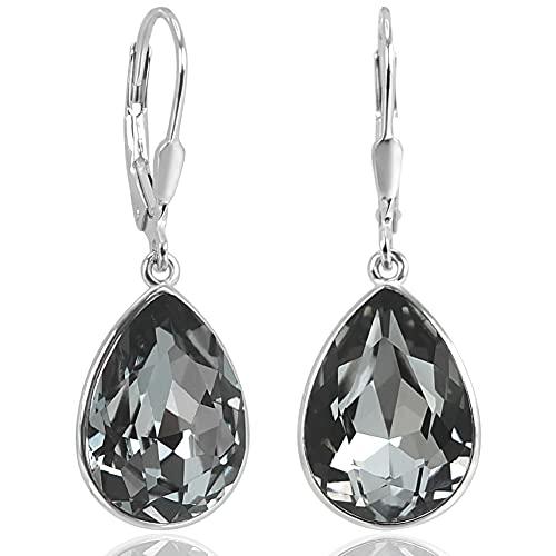 Silberohrringe Schwarz Grau mit Kristallen von Swarovski® Tropfen NOBEL SCHMUCK