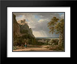 Classical Landscape with Figures and Sculpture 24x20 Black Modern Frame and Double Matted Art Print by de Valenciennes, Pierre-Henri