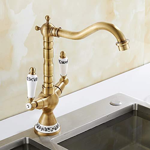 Grifo mezclador antiguo de cocina o baño de 360° rotación con doble mando de cerámica grifo para lavabo de latón mezclador cocina vintage clásico