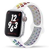 Hspcam Pride Edition Cinturino per Apple Watch Band 44 mm 40 mm 42 mm 38 mm silicone per Apple Watch Series 5 4 3 SE 6 (42 44 mm ML,Pride Nike)