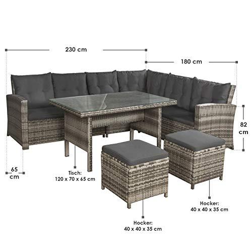 ArtLife Polyrattan Sitzgruppe Lounge Santa Catalina beige-grau | dunkelgraue Bezüge | Gartenmöbel-Set mit Ecksofa, Hocker & Tisch - 3