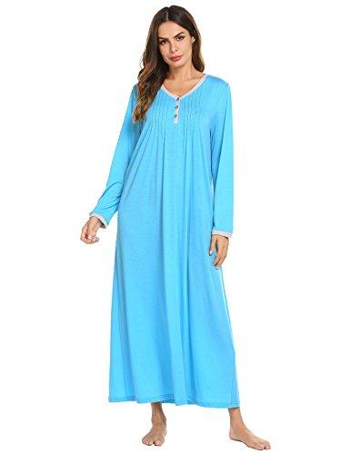 Ekouaer Womens Cotton Knit Long Sleeve Nightgown for Women, Henley Full Length Sleep Dress,Blue,Large