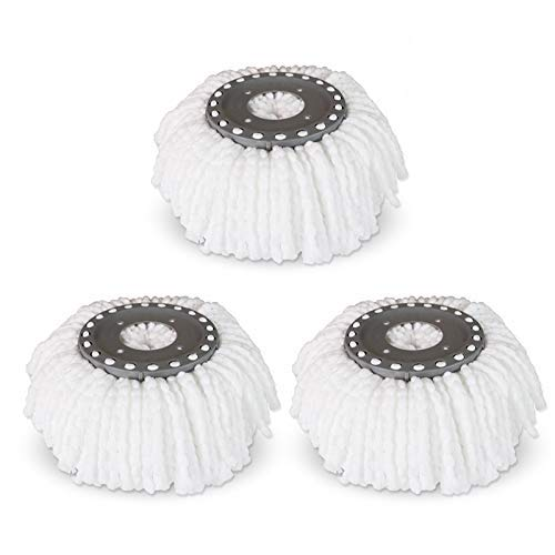 Replacement Microfiber Mops Head for 360°Spin Magic Mop,Hurricane Compatible Round Shape Standard Universal Size (3 Pack)