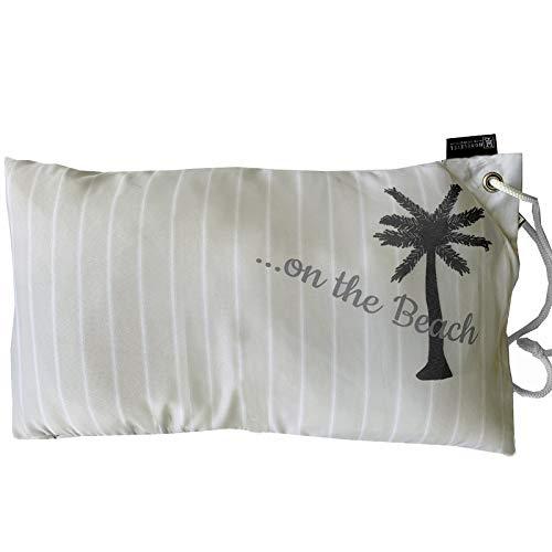HOMELEVEL leichtes Strandkissen 55cm x 30cm mit Tragekordel Kissen gefüllt Multikissen für Sonnenliegen Reisekissen Strandliege Schwimmbad Strand Gartenliege Reise (Beige)