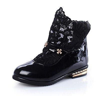 kekafu niñas botas Otoño Invierno Confort PU vestir casual Zipper talón plano blanco negro rubor rosa caminando,Negro,US2/UE33/UK1 Niños pequeños