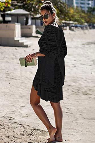 Jinsha Vestido de Playa - Mujer Pareos y Camisola de Playa Sexy Hueco Traje de Baño Punto Bikini Cover up, Negro, talla única
