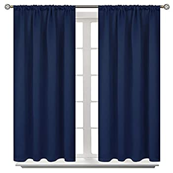 BGment Rod Pocket Blackout Curtains for Bedroom - Thermal Insulated Room Darkening Curtain for Living Room 42 x 45 Inch 2 Panels Navy Blue