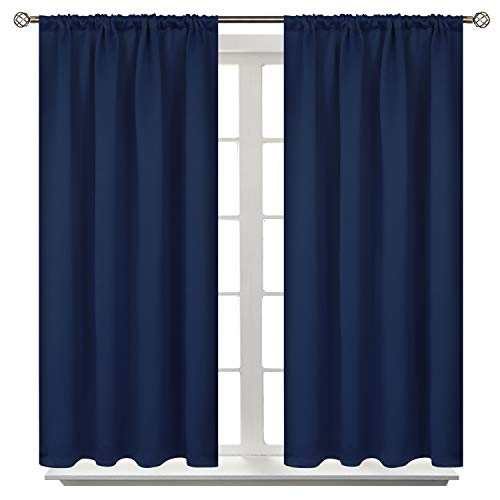 BGment Rod Pocket Blackout Curtains for Bedroom - Thermal Insulated Room Darkening Curtain for Living Room, 42 x 45 Inch, 2 Panels, Navy Blue