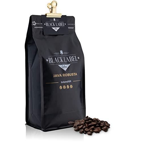 Black Label Coffee Kaffeebohnen 1kg Java Robusta Kaffee 100% | Kaffeebohnen Vollautomat 1kg Espresso ganze Bohnen | Cafe Crema Bohnen frisch geröstet