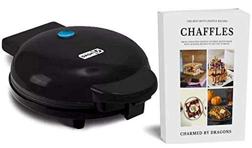 Dash Express 8' Waffle Iron With The Best Keto Chaffle Recipe Book and Journal by Charmed By Dragons (8 Inch BLACK)