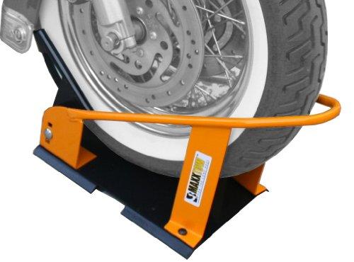 Motorcycle Wheel Chock Qiilu Motorcycle Heavy Duty Front Wheel Chock Parking Rack Display Holder for 17-21 Inches Motorcycle Wheels