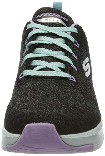 Skechers Arch Fit-Comfy Wave, Zapatillas Mujer, Negro (BKLV Black Knit/Lavender Trim), 41 EU