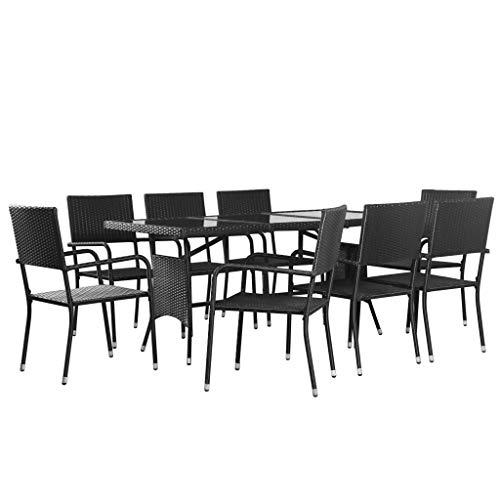Festnight 9-teilige Garten-Essgruppe | Ratten Sitzgruppe | Gartengarnitur Sitzgarnitur | Gartenset Essgruppe | Terrassenmöbel Gartenmöbel | Gartenmöbelset | Schwarz Poly Rattan mit Stahlrahmen