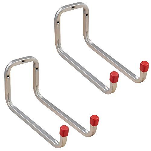 Gedotec Gerätehalter Metall Leiterhaken Wand-Haken Garage - DUO | Stahl verzinkt | Doppel-Haken lang | Tiefe: 250 mm | Ordnungshaken zum Schrauben für Wand-Montage | 2 Stück - Universalhaken 2-fach