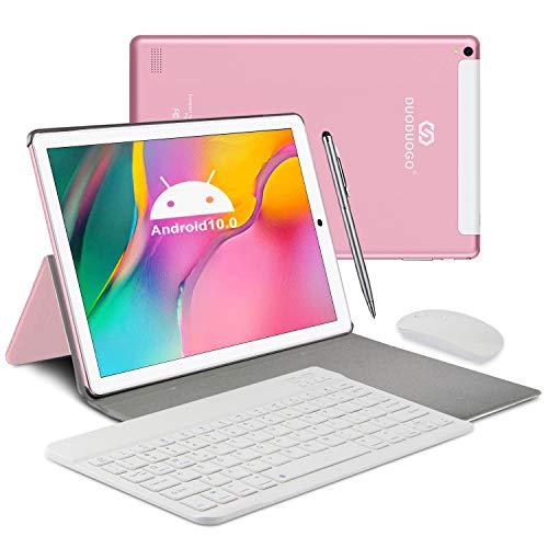 Tablet 10 Pollici 4G LTE - DUODUOGO Tablet Android 10.0, 4GB RAM+64GB ROM, Dual SIM, WIFI, Quad-Core, GPS, IPS 1920x1200, 8000mAh, Doppia Fotocamera, Bluetooth, Tablet PC in Offerta con Tastiera- Rosa