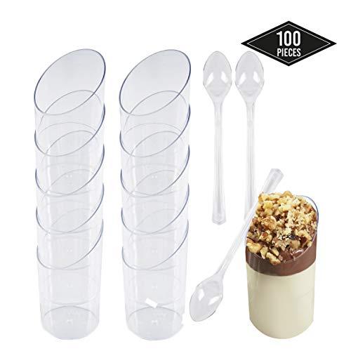 100 Einweg Plastik Dessertbecher mit 100 Löffeln, Transparent 70ml - Stabile & Mehrweg - Dessertschalen Dessertgläser aus Kunststoff für Mousse Fingerfood Nachtisch Partys Geburtstage Hochzeiten.