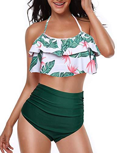 Yuson Girl Femme Vintage Floral Dos Nu Maillot De Bain Taille Haute à Pois Retro Bikini Volant Ensembles 2 Pièces Haut Tankini Rembourré Push Up Grossesse Triangle Bas,Vert-a,40-42 EU