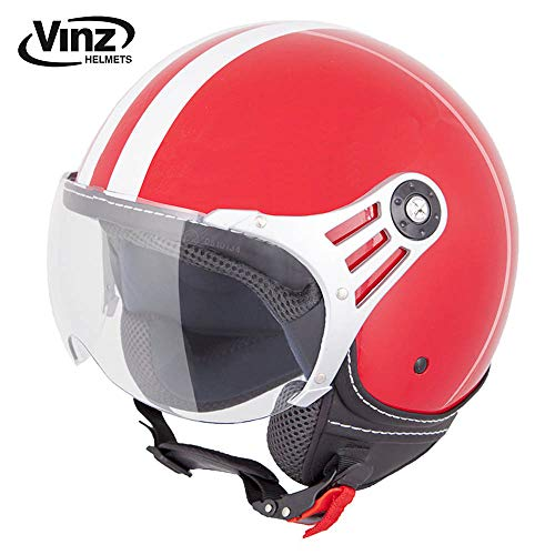 Vinz Rollerhelm Jethelm Fashionhelm   Roller Jet Helm mit Streifen   in Gr. XS-XL   Motorradhelm mit Visier   ECE zertifiziert (M, Rot)