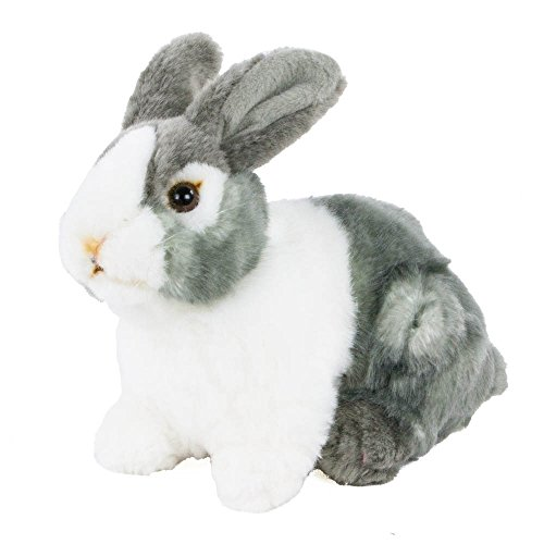 Teddys Rothenburg Uni-Toys - Conejo de peluche sentado (20 cm), color gris y blanco