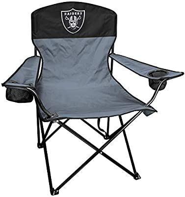 Rawlings NFL XL Lineman Tailgate and Camping Folding Chair, Black, Grey, One-Size