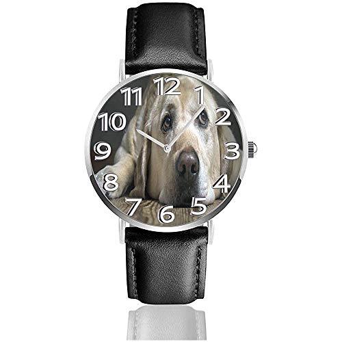 Labrador Dog Watches Orologio da polso in pelle PU Orologio al quarzo silenzioso con acciaio inossidabile argento