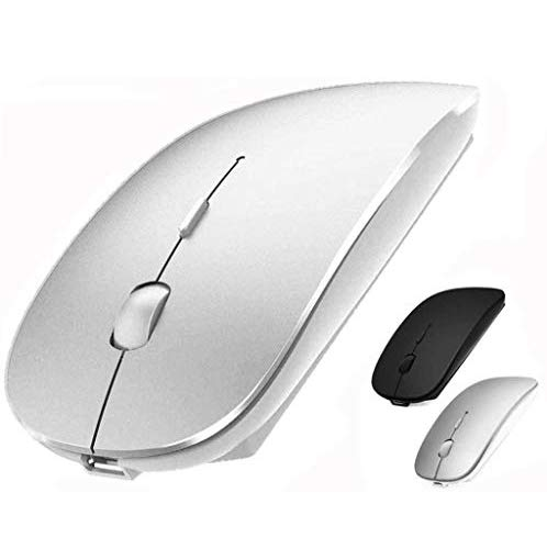 Rechargeable Wireless Mouse for MacBook pro Bluetooth Mouse for MacBook pro Air Laptop MacBook Mac Windows (Silver)
