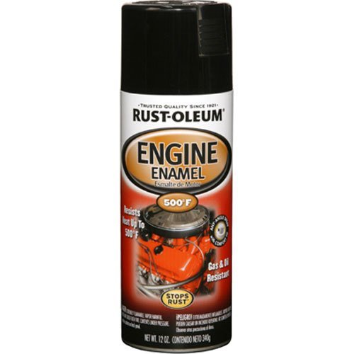 Rust-Oleum 248932 Engine Enamel, 12 oz, Spray Automotive Accessories, 12-Ounce, Black Gloss