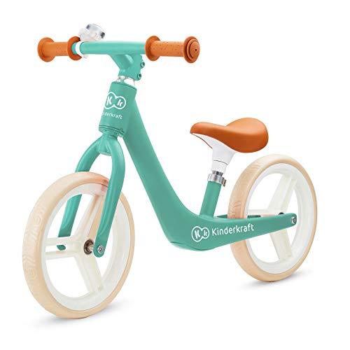 Kinderkraft Laufrad FLY PLUS, Lernlaufrad, Kinderlaufrad, Fahrrad mit Zubehör, Klingel, höhenverstellbar Sattel, 12 Zoll Räder, Magnesiumrahme, ab 3 Jahre, Retro Design, Grün