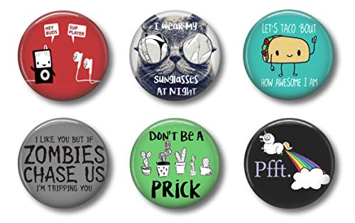 Funny Magnets - Music Hey Buds Sup Player - Cute Locker Magnets For Teens - Whiteboard Office or Fridge - Set of Six 1.75 inch(Funny)