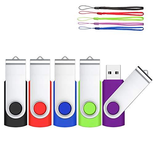 HOFOUND 4GB 5Piezas Pendrive Memorias USB 2.0 USB Stick Memory-Sticks 360 ° Diseño Giratorio Almacenamiento de Datos con Cordones Unidades Flash USB, Multicolor