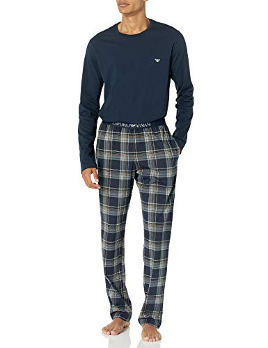 Emporio Armani Herren Pyjamas Pyjama Set, Marine Check, Medium