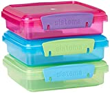 Sistema 41647, Lunch Sandwich Box con Clip a Contrasto, 450 ml, Colori assortiti, Pacco da 3