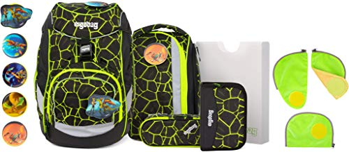 ergobag Pack LUMI-Edition DrachenfliegBär Schulrucksack-Set 6tlg. + Sicherheitsset Grün